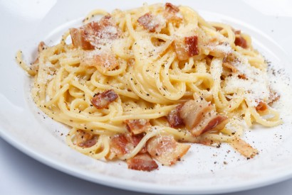 Spaghetti carbonara with pancetta