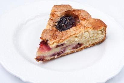 Homemade plum pie with vanilla ice cream